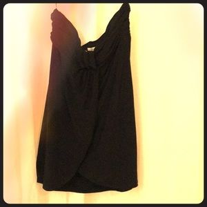 Black strapless gathered top polyester spandex